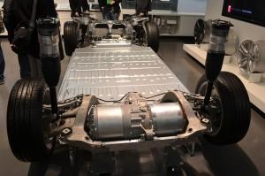 Tesla Motors Skateboard and Battery Packs