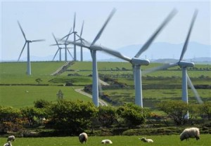 A windfarm is seen on Anglesey, north Wales