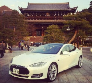 Tesla Model S on Display in Kyoto, Japan