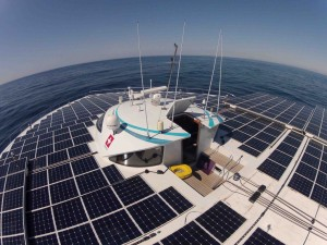 A View of the Deck of PlanetSolar Tûranor, Ocean Going Vessel Powered Entirely by Solar Power