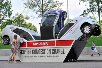 Nissan Leaf's New Marketing Ploy in London: Touring a Dumpster Full of Dirty Vehicles?