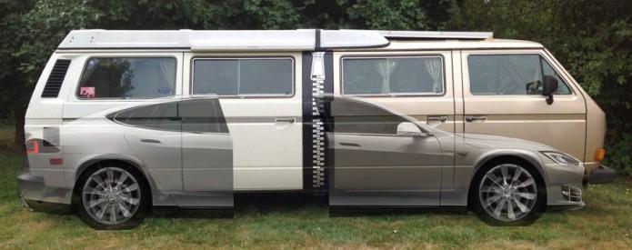 Tesla Model S + Two Volkswagen Vanagon Westfalia=Stretchla