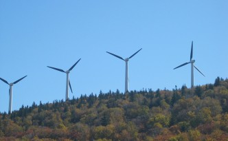 Wind turbines, just a small part of Burlington, Vermont's 100% renewable energy solution.