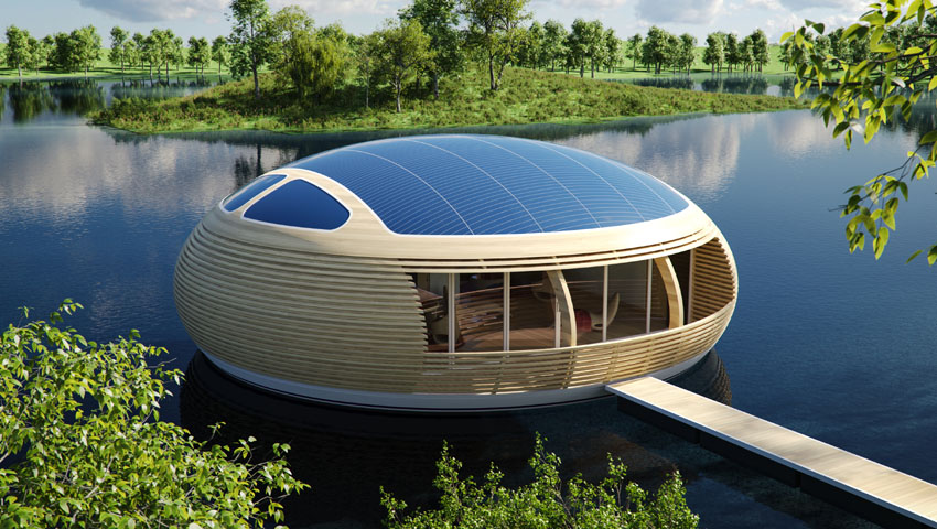 Waternest 100 Wonderful Floating Solar Powered Home Design The