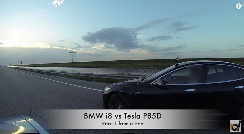 Tesla P85d Vs Bmw I8 Drag Race See Who Wins The Green Optimistic