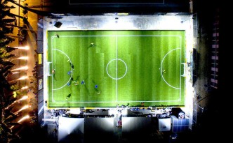 The Pavegen soccer field is lit using electricity created by field users.