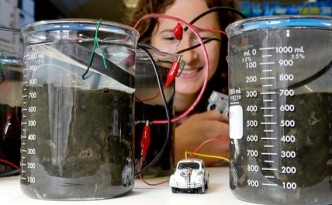 Microbial fuel cell powering a toy car