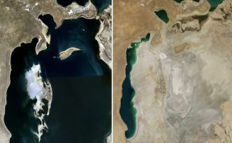 A comparison of the Aral Sea in 1989 (left) and 2014 (right).