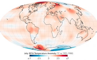 July 2016 hotesst month temperature anamoly